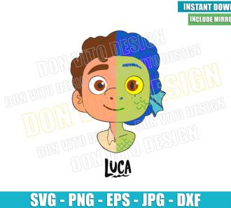 Luca Head Half Sea Monster Half Human (SVG dxf png) Disney Cut File Cricut Silhouette Vector Clipart - Don Vito Design Store