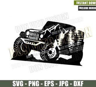 Mountains Jeep Trees (SVG dxf png) Vehicle 4×4 Off Road Driver Cut File Cricut Silhouette Vector Clipart - Don Vito Design Store