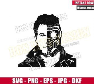 Peter Quill Starlord Face (SVG dxf png) Guardians of the Galaxy Helmet Cut File Cricut Silhouette - Don Vito Design Store