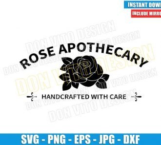 Rose Apothecary (SVG dxf png) Handcrafted with Care Logo Cut File Cricut Silhouette Vector Clipart - Don Vito Design Store