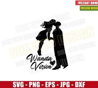 Scarlet Witch and Vision Kiss (SVG dxf png) Marvel Love Wanda Cut File Cricut Silhouette Vector Clipart - Don Vito Design Store