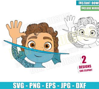 Sea Monster Luca Waving (SVG dxf png) Disney Movie Luca Outline Cut File Cricut Silhouette Vector Clipart - Don Vito Design Store