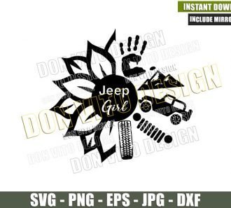 Sunflower Jeep Girl (SVG dxf png) Hand Mountains Wheel Tire Flower Cut File Cricut Silhouette Vector Clipart - Don Vito Design Store