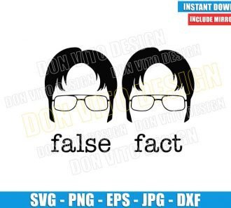The Office False Fact (SVG dxf png) Dwight Schrute Hair Glasses Cut File Cricut Silhouette Vector Clipart - Don Vito Design Store