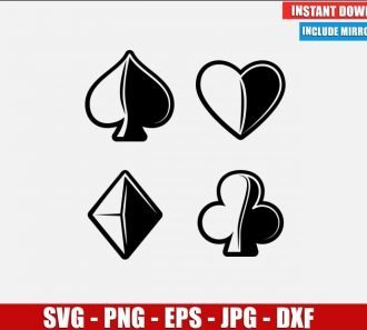 Playing Cards Symbols SVG Free Cut File for Cricut Silhouette Freebie Poker game Clipart Vector PNG Image Download Free SVG