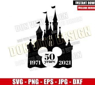 50 years Disney Castle (SVG dxf png) Walt Disney World Mickey Head Cut File Cricut Silhouette Vector Clipart - Don Vito Design Store
