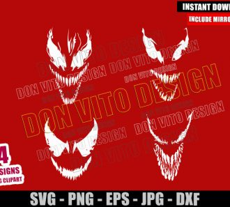 Carnage Face Bundle (SVG dxf png) Marvel Symbiote Cut File Cricut Silhouette Vector Clipart - Don Vito Design Store