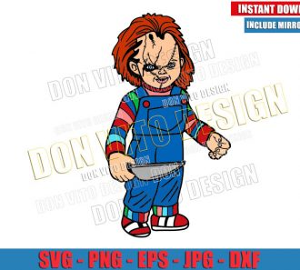 Childs Play Horror Movie (SVG dxf png) Chucky holding Knife Cut File Cricut Silhouette Vector Clipart - Don Vito Design Store