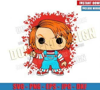 Chucky Funko Pop (SVG dxf png) Halloween Childs Play Toy Cut File Cricut Silhouette Vector Clipart - Don Vito Design Store