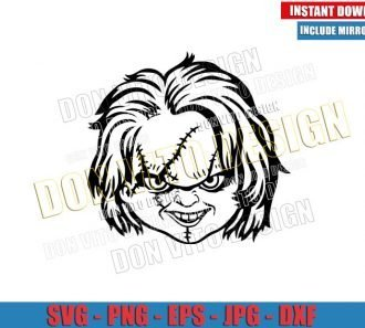 Chucky Head Outline (SVG dxf png) Halloween Childs Play Horror Movie Cut File Cricut Silhouette Vector Clipart - Don Vito Design Store
