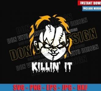 Chucky Killin It (SVG dxf png) Childs Play Head Serial Killer Cut File Cricut Silhouette Vector Clipart - Don Vito Design Store