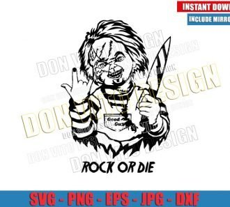 Chucky Rock or Die (SVG dxf png) Childs Play Halloween Cut File Cricut Silhouette Vector Clipart - Don Vito Design Store