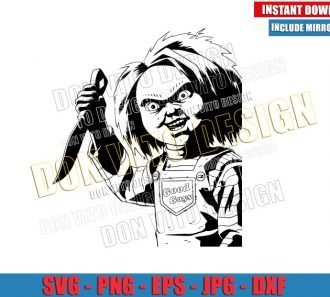 Chucky The Killer Doll (SVG dxf png) Halloween Childs Play Knife Cut File Cricut Silhouette Vector Clipart - Don Vito Design Store