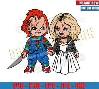 Chucky and Tiffany Couple (SVG dxf png) Bride of Chucky Horror Movie Cut File Cricut Silhouette Vector Clipart - Don Vito Design Store