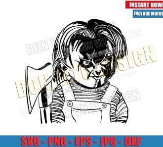 Chucky with Axe (SVG dxf png) Horror Movie Childs Play Cut File Cricut Silhouette Vector Clipart - Don Vito Design Store