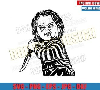 Chucky with Knife (SVG dxf png) Childs Play Horror Movie Outline Cut File Cricut Silhouette Vector Clipart - Don Vito Design Store