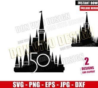 Cinderella Castle 50th Anniversary (SVG dxf png) Walt Disney World Cut File Cricut Silhouette Vector Clipart - Don Vito Design Store