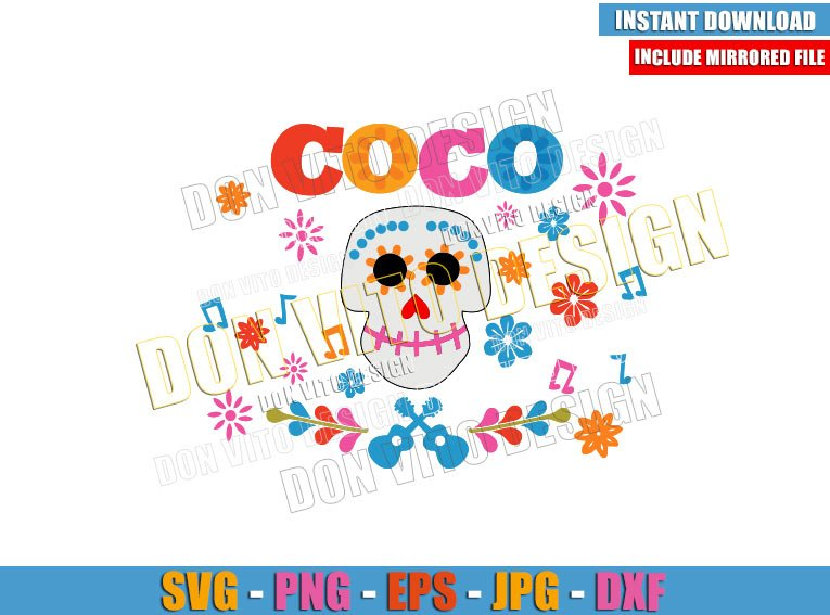 Coco Skull Head (SVG dxf png) Disney Movie Day of the Dead Cut File Cricut Silhouette Vector Clipart - Don Vito Design Store