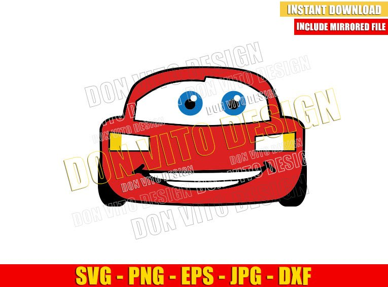 Disney Lightning Mcqueen (SVG dxf png) Cars Movie Race Car Face Cut File Cricut Silhouette Vector Clipart - Don Vito Design Store