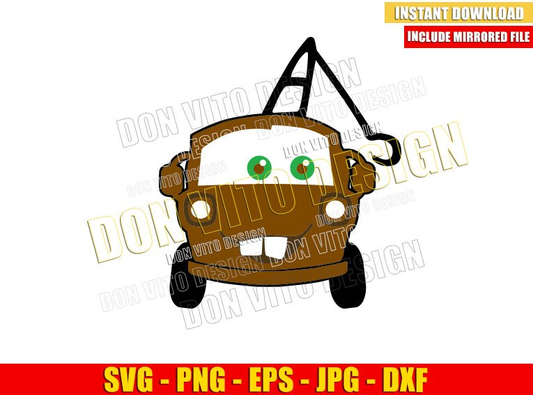 Disney Tow Mater (SVG dxf png) Cars Movie Lightning Mcqueen Friend Face Cut File Cricut Silhouette Vector Clipart - Don Vito Design Store
