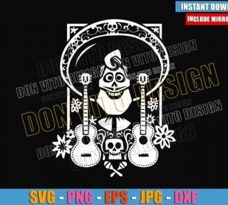 Ernesto de la Cruz Skull Guitars (SVG dxf png) Coco Pixar Movie Cut File Cricut Silhouette Vector Clipart - Don Vito Design Store