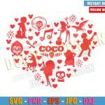 Heart Coco Movie Characters (SVG dxf png) Disney Mexico Day of the Dead Cut File Cricut Silhouette Vector Clipart Design Love Pixar svg