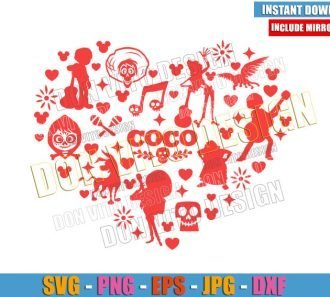 Heart Coco Movie Characters (SVG dxf png) Disney Mexico Day of the Dead Cut File Cricut Silhouette Vector Clipart - Don Vito Design Store