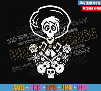 Hector Skull Head Guitars (SVG dxf png) Coco Day of the Dead Flowers Cut File Cricut Silhouette Vector Clipart - Don Vito Design Store