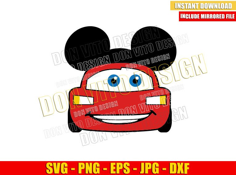 Lightning McQueen Mickey Ears (SVG dxf png) Disney Mouse Head Cars Cut File Cricut Silhouette Vector Clipart - Don Vito Design Store