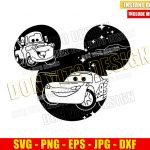 Mickey Head Cars Movie (SVG dxf png) Disney Mouse Ears Lightning McQueen Cut File Cricut Silhouette Vector Clipart Design Mater svg