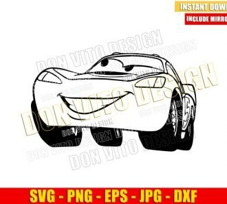 Lightning McQueen Outline (SVG dxf png) Disney Movie Cars Cut File Cricut Silhouette Vector Clipart - Don Vito Design Store