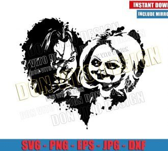 Love Chucky and Tiffany Heart (SVG dxf png) Horror Movie Couple Cut File Cricut Silhouette Vector Clipart - Don Vito Design Store