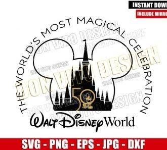 Mickey 50th Anniversary Castle (SVG dxf png) WDW Disney Mouse Head Cut File Cricut Silhouette Vector Clipart - Don Vito Design Store