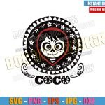 Miguel Skull Day of the Dead (SVG dxf png) Coco Movie Logo Cut File Cricut Silhouette Vector Clipart Design Pixar Disney svg