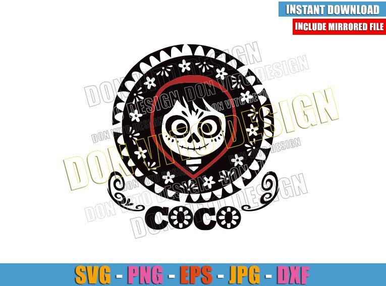 Miguel Skull Day of the Dead (SVG dxf png) Coco Movie Logo Cut File Cricut Silhouette Vector Clipart - Don Vito Design Store
