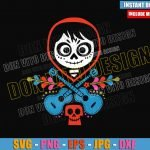 Miguel Skull Head Guitars (SVG dxf png) Disney Coco Day of the Dead Cut File Cricut Silhouette Vector Clipart Design Pixar Movie svg