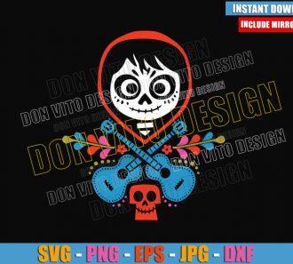 Miguel Skull Head Guitars (SVG dxf png) Disney Coco Day of the Dead Cut File Cricut Silhouette Vector Clipart - Don Vito Design Store