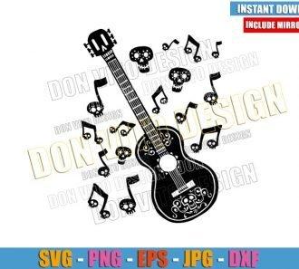 Skull Guitar Coco Music (SVG dxf png) Ernesto de la Cruz Movie Cut File Cricut Silhouette Vector Clipart - Don Vito Design Store