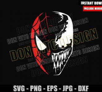 Spiderman Venom Half Face (SVG dxf png) Marvel Comics Cut File Cricut Silhouette Vector Clipart - Don Vito Design Store