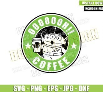 Starbucks Alien Toy Story (SVG dxf png) Oooh Coffee Drink Label Cut File Cricut Silhouette Vector Clipart - Don Vito Design Store