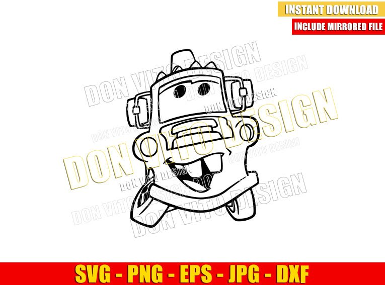 Tow Mater Outline (SVG dxf png) Cars Disney Movie Cut File Cricut Silhouette Vector Clipart - Don Vito Design Store