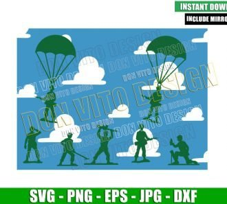 Toy Army Soldiers and Clouds (SVG dxf png) Toy Story Troops Cut File Cricut Silhouette Vector Clipart