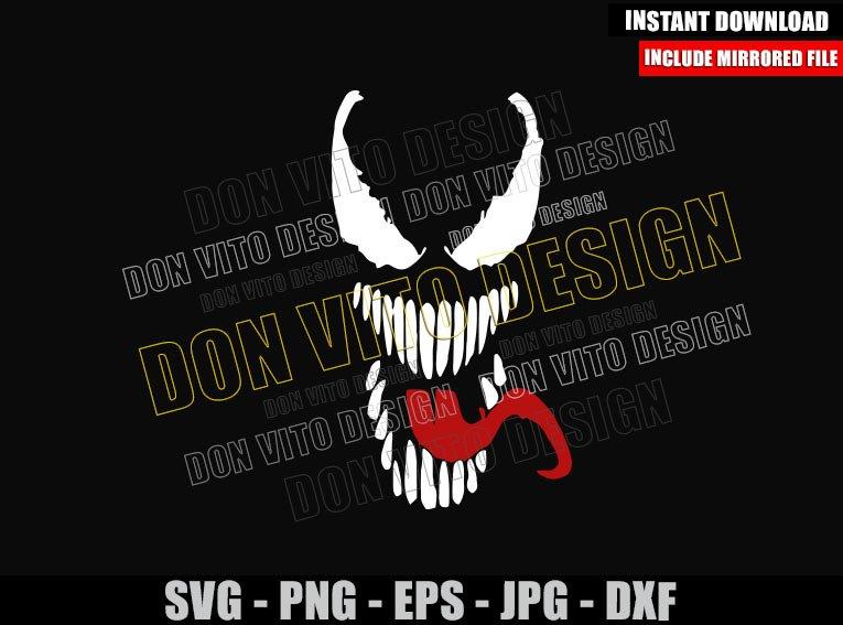 Venom Eyes Tongue Marvel (SVG dxf png) Symbiote Face Villain Cut File Cricut Silhouette Vector Clipart - Don Vito Design Store