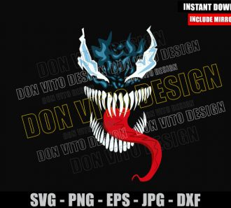 Venom Sticking Out Tongue (SVG dxf png) Marvel Symbiote Cut File Cricut Silhouette Vector Clipart - Don Vito Design Store