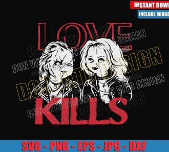 Love Kills Chucky Tiffany (SVG dxf png) Halloween Couple Cut File Cricut Silhouette Vector Clipart - Don Vito Design Store