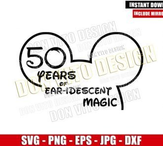 50 Years of Earidescent Magic (SVG dxf png) Mickey Head Outline Cut File Cricut Silhouette Vector Clipart - Don Vito Design Store