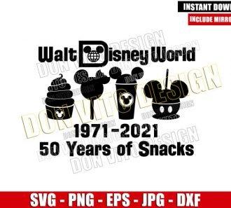50 Years of Snacks (SVG dxf png) Retro Walt Disney World logo Cut File Cricut Silhouette Vector Clipart - Don Vito Design Store