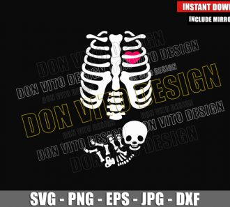 Baby Skeleton Pregnancy (SVG dxf png) Rib Cage with Heart Cut File Cricut Silhouette Vector Clipart - Don Vito Design Store