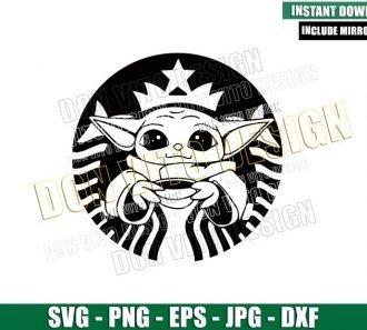 Baby Yoda Starbucks Mermaid (SVG dxf png) Halloween Coffee Logo Cut File Cricut Silhouette Vector Clipart - Don Vito Design Store