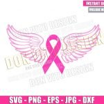 Cancer Ribbon Angel Wings (SVG dxf png) Breast Cancer Month Cut File Cricut Silhouette Vector Clipart Design Awareness Pink svg